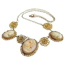 Antique Cameo necklace, gilt silver, 19th century