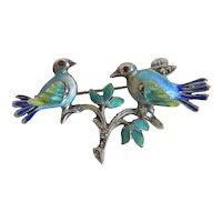 Antique love bird brooch with enamel, 19th century