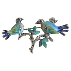 Antique love bird brooch with enamel, 19th century