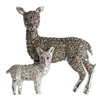 Vintage Diamond deer brooch, 18 k white gold, ca. 1950