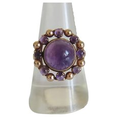 Antique Amethyst ring, 14 k yellow gold, 19th century