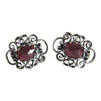Antique Bohemian Garnet earrings, silver 800, 19th century