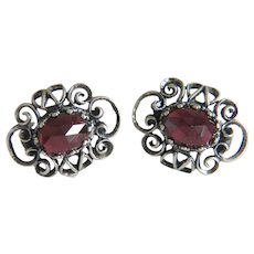 Antique Bohemian Garnet earrings, silver 800, 19th century