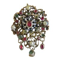 Antique Emerald and Ruby brooch, gilt silver, 19th century