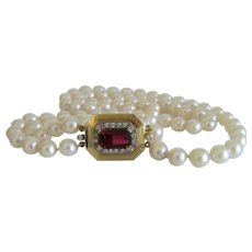 Vintage Tourmaline and Diamond cultured pearl necklace, ca. 1930