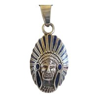 Vintage Indian head silver pendant with blue enamel, ca. 1960