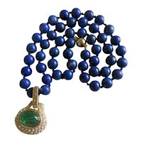Vintage Lapis Lazuli bead necklace with crystal glass pendant, 20th century