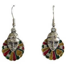 Vintage Venetian mask earrings with enamel, 20 th century