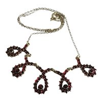 Antique Bohemian Garnet necklace, gilt silver, 19th century