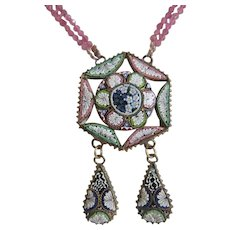 Antique Micro Mosaic pendant with pink Tourmaline necklace, 19th century