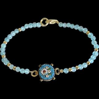 Vintage Micro Mosaic and Apatite bead bracelet, 20th century