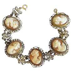 Antique shell Cameo bracelet, gilt silver, 19th century