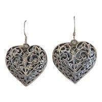 Vintage heart shaped dangle earrings, silver 800, early 20th century