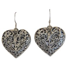 Vintage heart shaped dangle earrings, silver 800, early 20th century