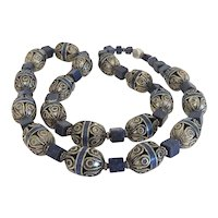Vintage Lapis Lazuli and silver bead necklace, early 20th century
