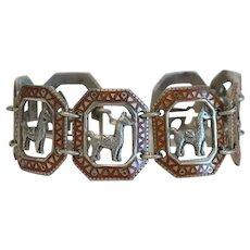Vintage Enamel link bracelet, silver 900, 20th century