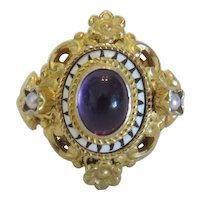 Antique Amethyst cabochon ring, gilt silver, 19th century