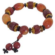 Vintage Carnelian, Onyx and Amber bead bracelet, 20th century