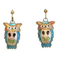 Vintage Enamel dangle owl earrings, 20th century