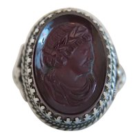 Antique red Glass Cameo ring, silver 925, 19th century