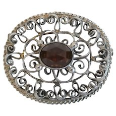 Antique Garnet brooch, silver 800, 19th century