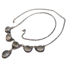 Antique Victorian Cat´s Eye Moonstone necklace, silver 800, 19th century