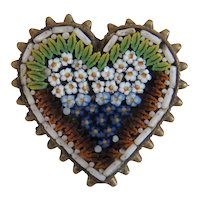 Antique Micro Mosaic heart shaped brooch, 19th century