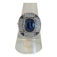 Art Deco Diamond and blue Sapphire ring, ca. 1925-1930