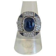 Art Deco Diamond and blue Sapphire ring, ca. 1925-1930