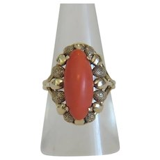 Antique red Coral ring, 14k yellow gold, 19th century