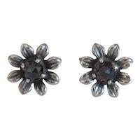 Antique Victorian Garnet stud earrings, silver 800,19th century