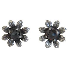 Antique Victorian Garnet stud earrings, silver 800,19th century
