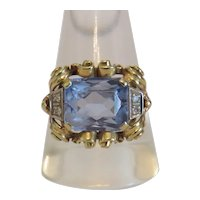Antique Diamond and Spinel ring, 14k yellow gold, early 20th century