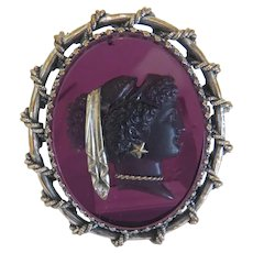 Art Nouveau glass Cameo brooch, silver 800, 19th century