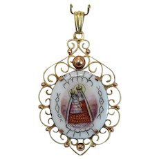 Antique Enamel pendant, 14k yellow gold, 19th century