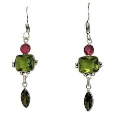 Vintage red and green Tourmaline earrings, silver 925,ca.1960