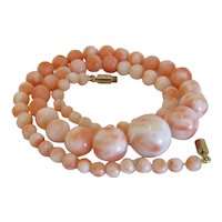 Vintage Natural Pink Coral necklace, ca. 1950