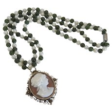 Antique Nephrite and cultured pearl with shell Cameo pendant, 19th century