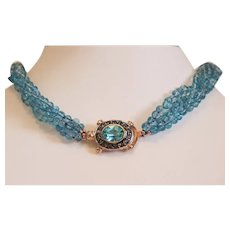 Vintage turquoise Apatite bead necklace , ca. 1970