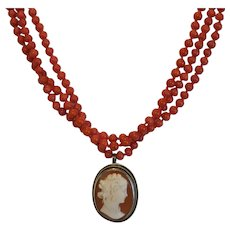 Antique Coral necklace with Shell Cameo pendant, 19th century