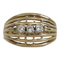 Vintage Diamond ring,14k yellow gold, ca. 1950