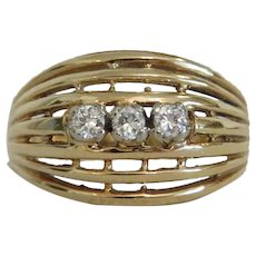 Vintage Diamond ring,14k yellow gold, ca. 1950