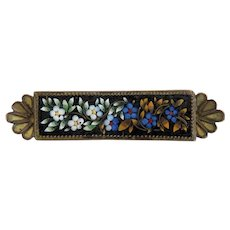 Antique Micro Mosaic brooch, gold plate, 19th century