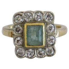 Art Deco Diamond and Emerald ring, 14 k yellow gold