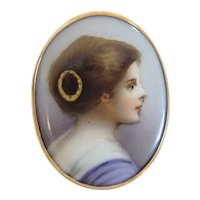 Antique portrait brooch, 14k rose gold, ca. 1900