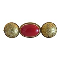 Victorian red Coral brooch, 14k yellow gold, 19th century
