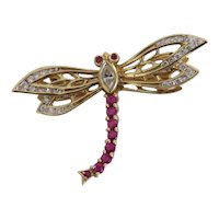 Art Deco Diamond and Ruby en tremblant brooch, 18 k yellow gold