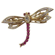 Art Deco Diamond and Ruby en tremblant brooch, 18 k yellow gold