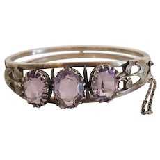 Antique Amethyst bangle bracelet, silver 800,19th century