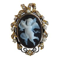 Antique Agate Cameo with seed pearls, 19th century